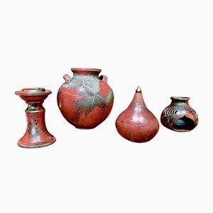 German Glazed Ceramic Set from Schellbach Pottery, 1960s, Set of 4