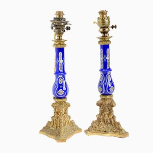 19th Century Gilt Bronze Oil Lamp with White and Blue Opaline Glass Stems & Gilt Decoration