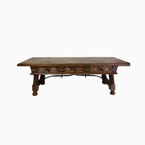19th Century Spanish Coffee Table with Solomonic Legs