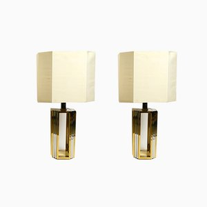 Large Brass and Chrome Table Lamps from Banci, Italy, 1970s, Set of 2
