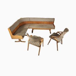 Corner Sofa & 2 Chairs by Ludvik Volak for Drevopodnik Holesov, 1960s, Set of 3