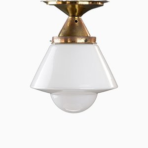Opal White Art Deco Hanging Lamp in the Bauhaus Style of Dr. Twerdy, 1930s