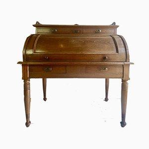 Large Antique Cylinder Writing Desk in Oak