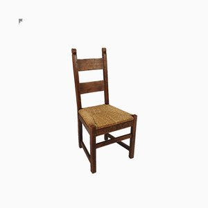 Vintage Rustic Oak and Straw Dining Chairs, Set of 6, 1950s