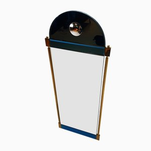 Large Postmodern Blue Glass and Gold Mirror from Schöninger, Germany, 1980s