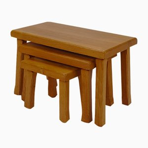 Modernist Blond Oak Nesting Tables, 1960s, Set of 3