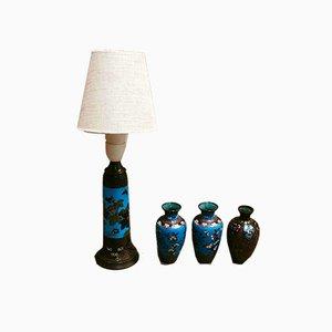 Lampada da tavolo e vasi, Scandinavia, anni '50, set di 4