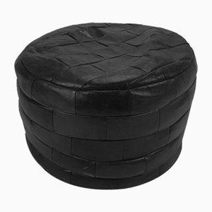 Black Leather Patchwork Pouf, 1970s