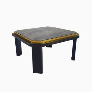 Hollywood Regency Coffee Table in Steel, Brass and Marble, 1970s