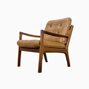 Danish Teak and Leather Lounge Chair by Ole Wanscher for Cado, 1960s