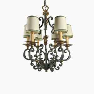 Wrought Iron Lacquered and Gilded Chandelier