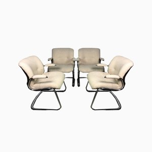 Strafor Chairs in Chrome Aluminum and Beige Tweed, 1970s, Set of 4
