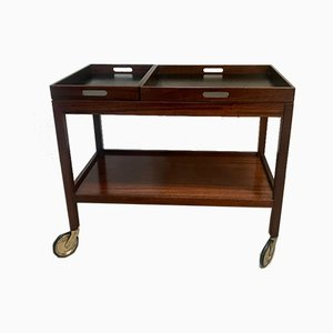 German Modernist Walnut Serving Cart with Removable Trays from Wilhelm Renz, 1960s