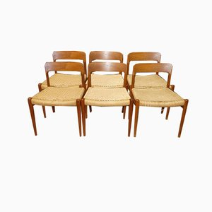 Model 75 Dining Chairs in Teak and Paper Cord by Niels Otto Møller for J.L. Møllers, Set of 6
