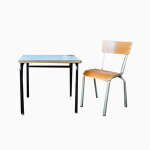 Vintage Blue Desk and Chair, Set of 2