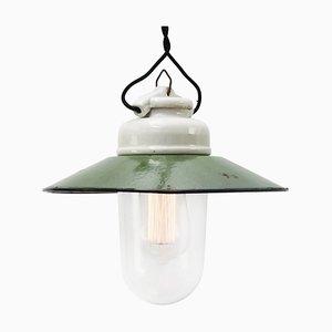 Vintage Industrial Green Enamel, Porcelain & Clear Glass Pendant Lamp