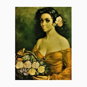 Vintage Oil Painting, Captivating Portrait of the Andalusian Lady