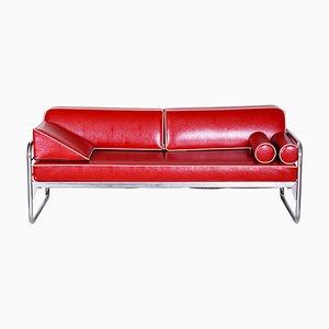 Bauhaus Czech Red Tubular Chrome Sofa by Hynek Gottwald, 1930s