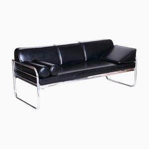 Czech Bauhaus Black Tubular Chrome Sofa by Hynek Gottwald, 1930s