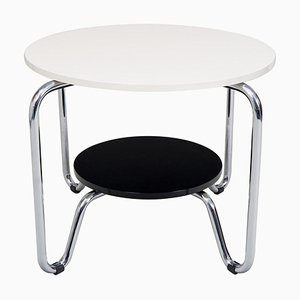 Small & Tall Bauhaus Side Table in Chrome and Macassar from Kovona, 1950s