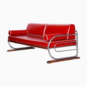 Bauhaus Red Tubular Chromed Steel Sofa by Robert Slezák, 1930s