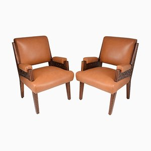 Art Deco Style Sculpted Armchairs, 1950s, Set of 2