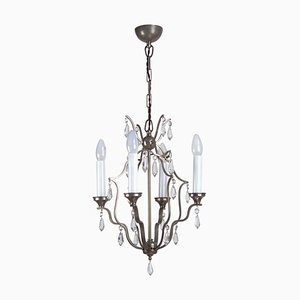 Chrome Chandelier with Glass Trimmings, 1920s