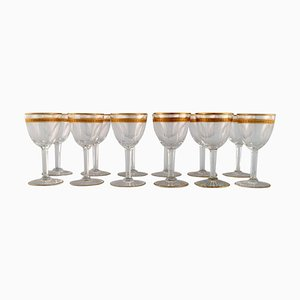 Art Deco Wine Glasses in Crystal Glass from Baccarat, France, 1930s, Set of 12