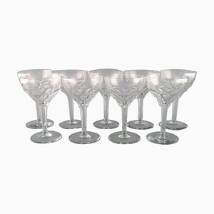 Red Wine Glasses in Clear Crystal Glass from Val St. Lambert, Belgium, Set of 9