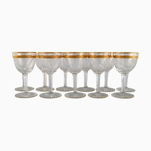 Art Deco Wine Glasses in Crystal Glass from Baccarat, France, 1930s, Set of 11