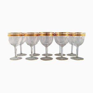 Art Deco Red Wine Glasses in Crystal Glass from Baccarat, France, 1930s, Set of 10