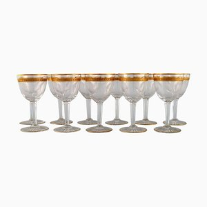 Art Deco White Wine Glasses in Crystal Glass from Baccarat, France, 1930s, Set of 11