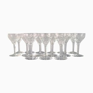 White Wine Glasses in Clear Crystal Glass from Val St. Lambert, Belgium, Set of 15