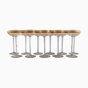 Art Deco Champagne Bowls in Crystal Glass from Baccarat, France, 1930s, Set of 11