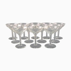 Champagne Bowls in Clear Crystal Glass from Val St. Lambert, Belgium, Set of 12