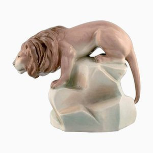 Art Deco Hand-Painted Amphora Porcelain Figurine of a Lion, Czechoslovakia