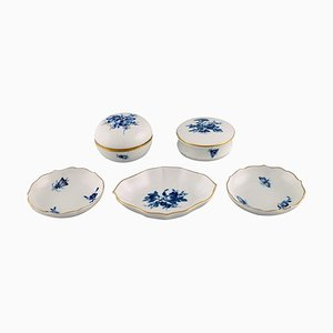Lidded Jars and Caviar Bowls in Porcelain from Meissen, Set of 5