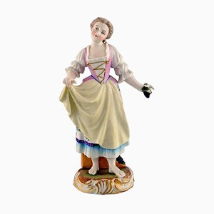 Antique Figure in Hand-Painted Porcelain, Girl with Grapes from Meissen