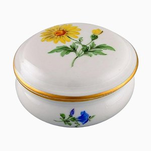 Porcelain Lidded Jar with Hand-Painted Flowers and Gold Edge from Meissen