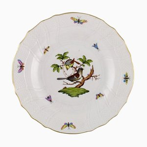 Bird Dinner Plate in Hand-Painted Porcelain from Herend Rothschild, Mid-20th Century