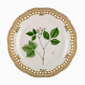 Flora Danica Plate in Openwork Porcelain with Flowers from Royal Copenhagen