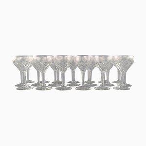Red Wine Glasses in Clear Crystal Glass from Val St. Lambert, Belgium, Set of 20