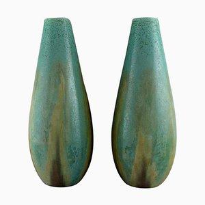 Large French Art Deco Floor Vases in Glazed Ceramics, Set of 2