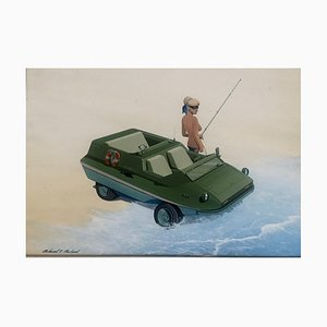 Amphibious Car and Pretty Fisherman Project, Gouache on Cardboard