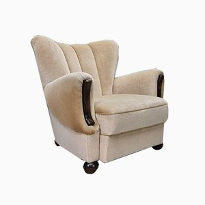 Mid-Century Art Deco Danish Pale Gold Velour Club Chair
