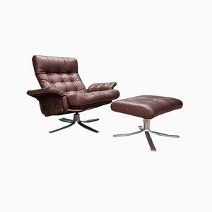 Mid-Century Norwegian Atlantis Brown Leather Chair & Stool by Ebbe Gehl & Søren Nissen for Jeki Møbler