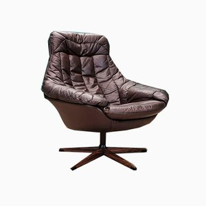 Mid-Century Danish Brown Leather Swivel Lounge Chair by H.W. Klein for Bramin, 1970s