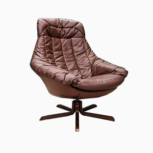 Mid-Century Danish Tan Leather Swivel Lounge Chair by H.W. Klein for Bramin, 1970s