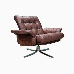 Mid-Century Norwegian Atlantis Brown Leather Chair by Ebbe Gehl & Søren Nissen for Jeki Møbler