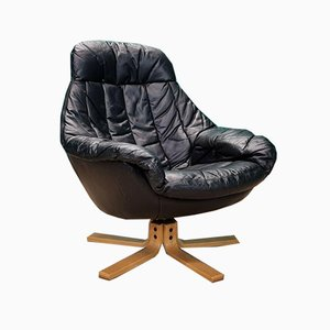 Mid-Century Danish Black Leather Swivel Lounge Chair by H.W. Klein for Bramin, 1970s